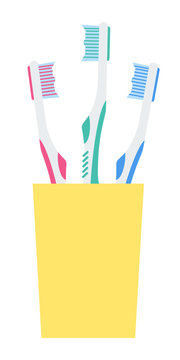 Toothbrushes in a glass vector icon flat