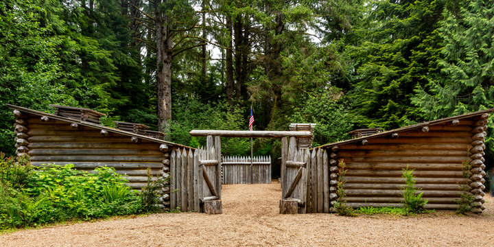 MAY 28 2019, ASTORIA, OREGON, USA - Historic Fort Clatsop, Oregon, site of the Lewis and Clark Expedition - 1804-1806 outside of Astoria, Oregon