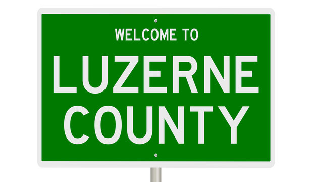Rendering of a green 3d highway sign for Luzerne County