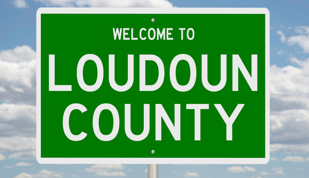 Rendering of a green 3d highway sign for Loudoun County