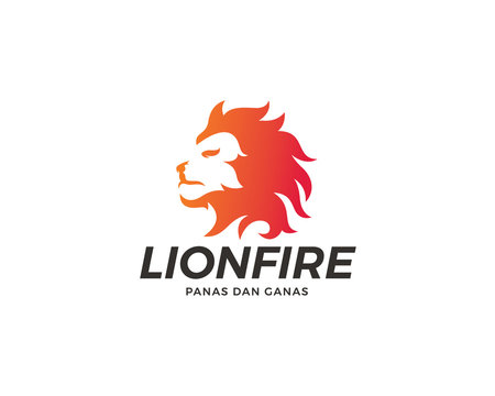 Lion fire logo design