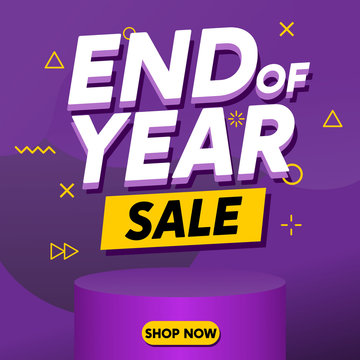 End of Year Sale Banner Template Vector for Poster, Flyer and Card with Purple Gradient Background