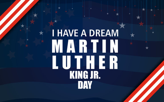 Typography design with words on the text MLK in American Flag colors on an isolated black background
