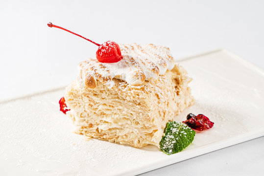 Christmas cake with cherry and cream