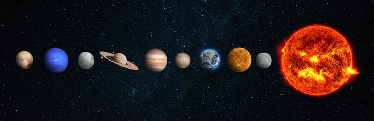 Fototapeta The solar system consists of the Sun, Mercury, Venus, Earth, Mars, Jupiter, Saturn, Uranut, Neptune, Pluto.Elements of this image furnished by NASA obraz