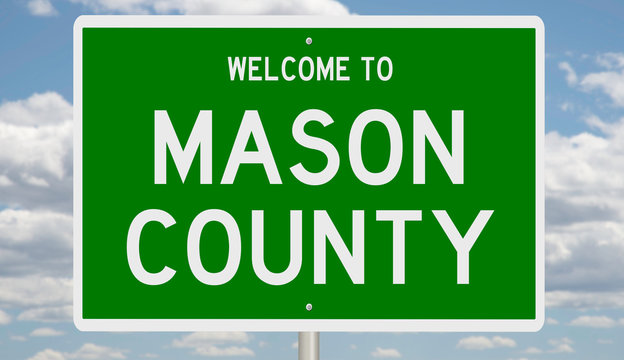 Rendering of a green 3d highway sign for Mason County