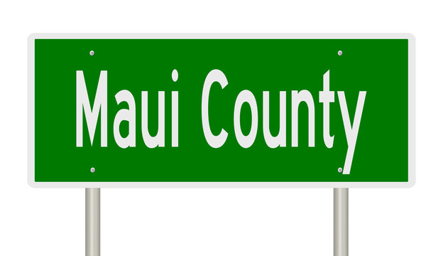 Rendering of a green 3d highway sign for Maui County