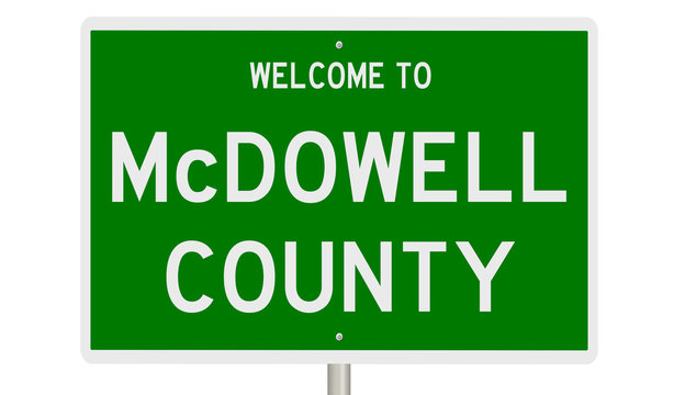 Rendering of a green 3d highway sign for McDowell County