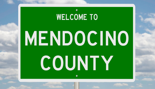 Rendering of a green 3d highway sign for Mendocino County