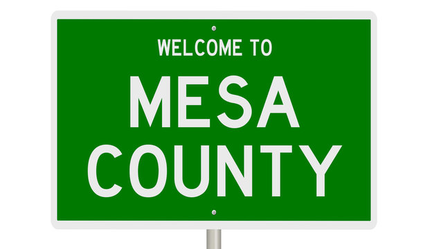 Rendering of a green 3d highway sign for Mesa County