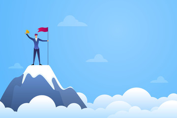 Successful businessman holding a flag and trophy on top of mountain vector. Symbol of success, achievement victory, top career and leadership flat illustration