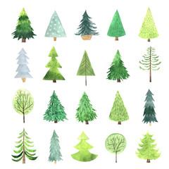 Watercolor green Christmas Tree set