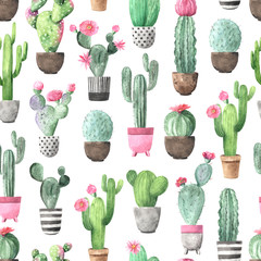 Aluminium Prints Plants in pots Seamless pattern with watercolor flowering cactus