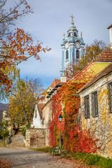 Dürnstein church in autumn, Wachau, Austria