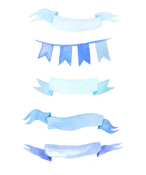 Set of watercolor hand painted blue ribbons