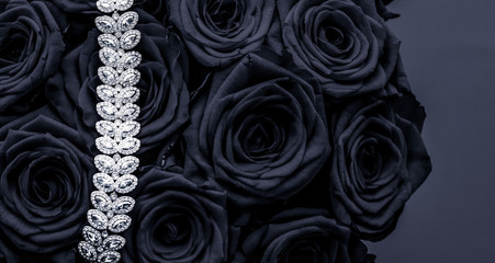 Luxury diamond jewelry bracelet and black roses flowers, love gift on Valentines Day and jewellery brand holiday background design Wall mural