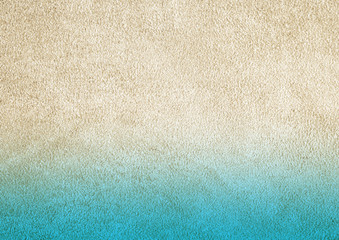 Texture of genuine leather. Suede leather texture closeup. Blue and beige background.