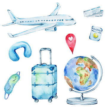 Travel set with airplane, the globe, suitcase, sleep mask, pillow, tickets, passport, red geotag; watercolor hand draw illustration; with white isolated background