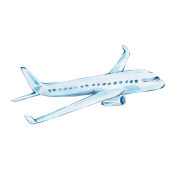 Watercolor hand draw illustration airplane; with white isolated background