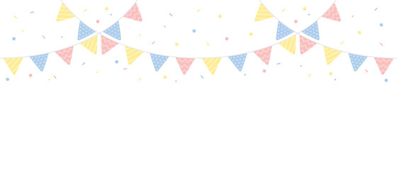 Cute pastel colored triangle party buntings with confetti border. Baby and kids party decoration. Flat vector illustration.