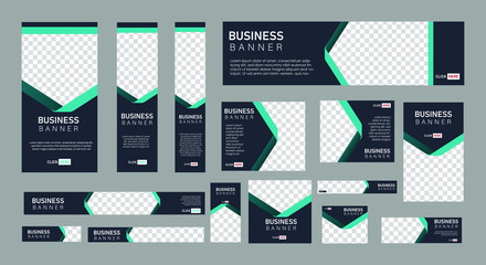 set of creative web banners of standard size with a place for photos.  Business ad banner. Vertical, horizontal and square template. vector illustration EPS 10 Fotobehang