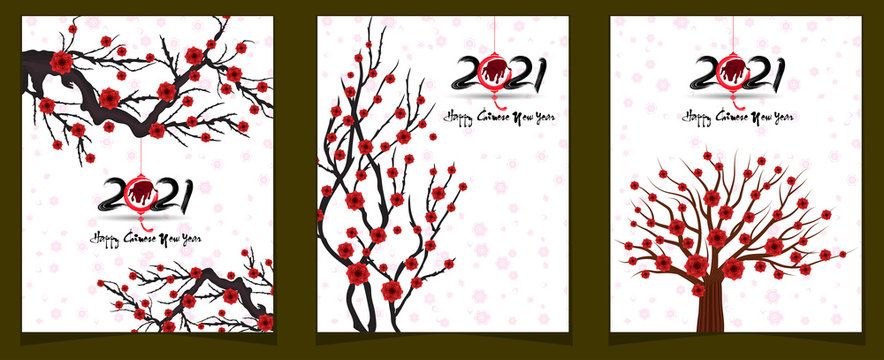 Happy chinese new year 2021 year of the ox flower and asian elements with craft style on background