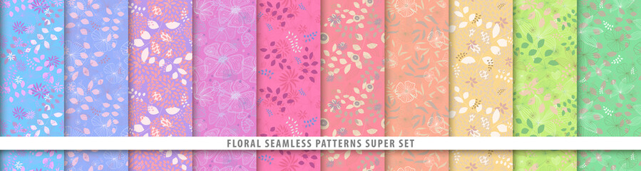 Floral seamless patterns bundle set. Flowers and leaves. Colorful vector background. Fabric and textile print