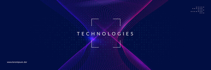 Artificial intelligence tech background. Digital technology, deep learning and big data concept. Abstract visual for screen template. Geometric artificial intelligence tech backdrop.