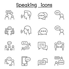 Talk, speech, discussion, dialog, speaking, chat, conference, meeting icon set in thin line styl