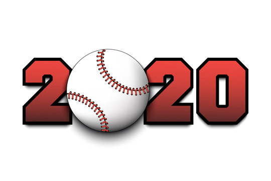 New Year numbers 2020 and baseball ball