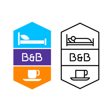 Bed and breakfast logo for hotel service or hostel house. Bed with pillow and cup of coffee symbols. Adjustable stroke width.