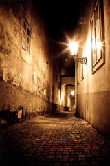 Acrylic Prints Narrow alley mysterious narrow alley in Prague