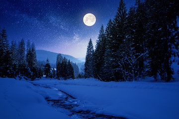 Photo sur Plexiglas Rivière de la forêt frozen and snow covered mountain river at night. carpathian winter landscape in full moon light light. spruce forest on the river bank