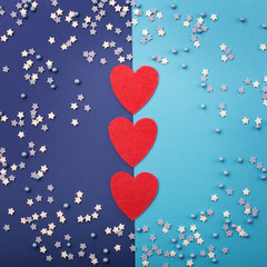 Happy Valentine's Day card with small stars and red hearts