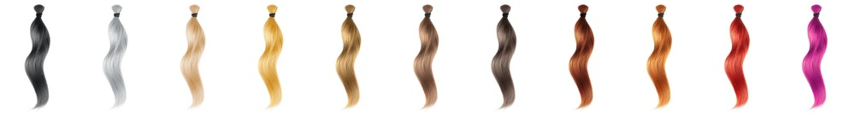 Fotorolgordijn Kapsalon Collection various colors of hair on white background, isolated. Long wavy ponytail
