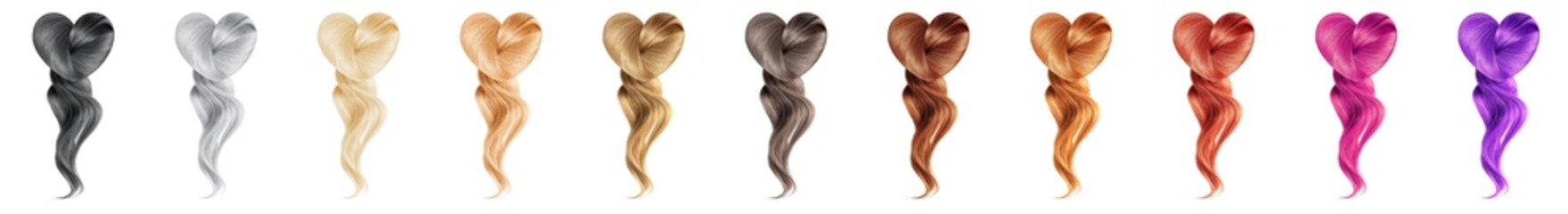 Collection various colors of shiny hair in shape of heart on white background, isolated