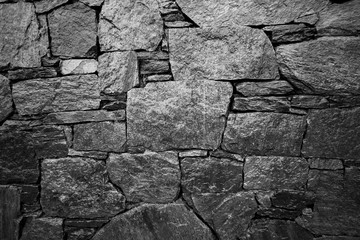 Monochrome stacked stone wall