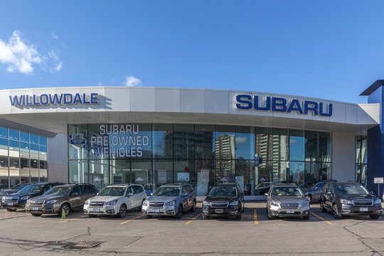 Thornhill, Ontario, Canada - February 26, 2018: Exterior view of Subaru dealership in Thornhill, the automobile manufacturing division of Japanese transportation conglomerate Subaru Corporation.