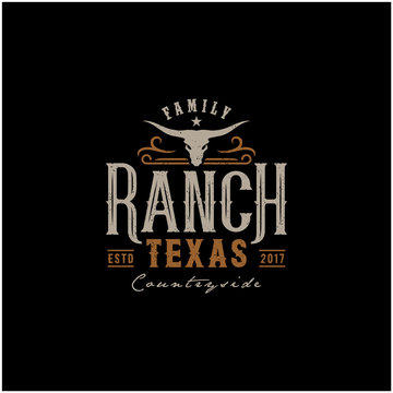 Texas Longhorn, Country Western Bull Cattle Vintage Label Logo Design