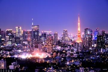Fototapeten Dunkelblau 東京の夜景