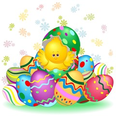 Poster Draw Easter Chick Cute Character on his Egg with Decorated Easter Eggs Vector illustration
