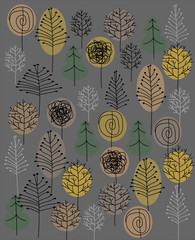 Seamless scandinavian pattern with trees on grey background for wallpaper, decoration, textile