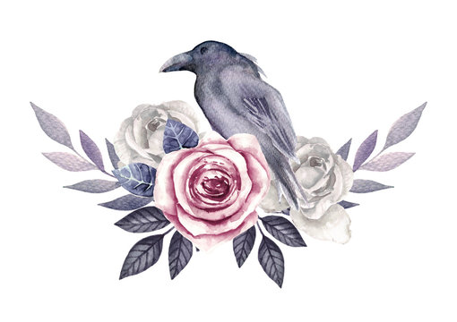 Vintage bouquet with roses and bird. Watercolor hand drawn