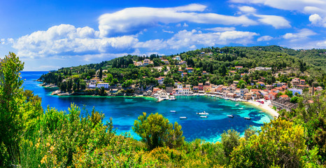 Small picturesque island Paxos with beautiful scenic beaches and villages. Ionian islands of Greece