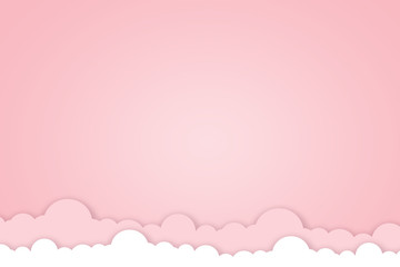 Happy Valentines day concept background. illustration. 3d pink paper hearts with white square frame.