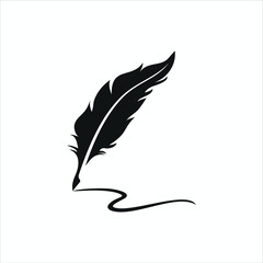feather pen logo silhouette vector design template premium