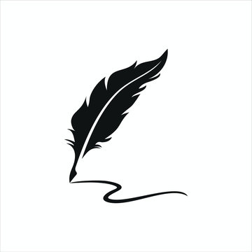 feather pen logo silhouette vector design template premium