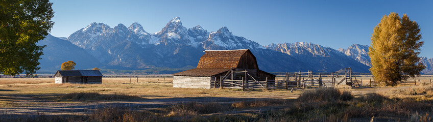 Wall Murals Gray traffic John Moulton Barn within Mormon Row Historic District in Grand Teton National Park, Wyoming - The most photographed barn in America