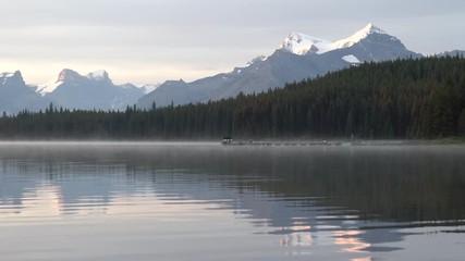 Wall Mural - Maligne Lake close to Jasper with early morning mood, Alberta, Canada