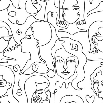 One line face pattern. Trendy woman face seamless texture with abstract line shapes, minimal girl face. Vector stylized design pattern, black sketch drawing portrait faces glamour girl